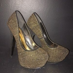 Black and gold studded pumps. Gently worn once